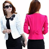 2017 Fashion Women Floral Blazer Slim White Short Blaser Female Plus Размер XXL Топы с длинным рукавом Feminino Work Wear Suit