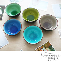 Wholesale Ceramic Glazes Free Shipping - Wholesale-Free Shipping Japanese Colored Ceramic Glaze Crack Steamed Rice Soup Bowl Set