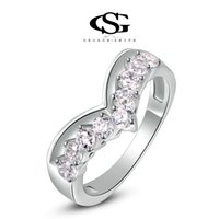 Wholesale Platinum Women S Wedding Band - 015 G&S Brand party ewelry Gift Platinum Plating Wedding Rings For Women Heart Ring Fashion Jewelry