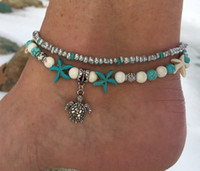 Wholesale Turquoise Turtle Jewelry - New arrival Bohemian women foot jewelry Beach Turtle Pendant Anklets Starfish turquoise anklets