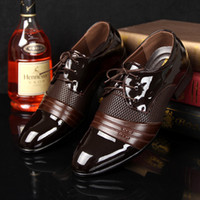 Wholesale Loafers - 2016 HOT Big US size 6.5-13 man dress shoe Flat Shoes Luxury Men's Business Oxfords Casual Shoe Black   Brown Leather Derby Shoes