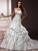 Wholesale Silver Satin Wedding Reception - High Quality Sweetheart A-Line Wedding Dresses Strapless Ball Gown Handmade flowers Chapel Train Reception Bridal Gowns Custom Made A:138