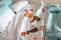 Wholesale Lion Comforter Sets King Size - 2017 Home Textile Cute Boy Girl Embroidery Quilt Set Quilted Bedspreads Kids Sunflower Lion Comforter Bedding Set Queen King Size