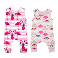 Wholesale Pineapple Clothes - Sleeveless Rompers Rainbow Flamingo Pineapple O-neck Summer Cartoon Newborn Vest Baby Jumpsuits Baby Girls Clothing Sets 3-18M