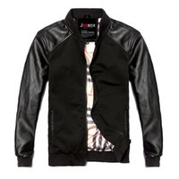 Wholesale Men S Thin Leather Jackets - Fall-Brand New Men's Thin Leather Jacket Fashion Stitching Casual PU Motorcycle Leather Jackets For Men Leather Coats M~2xl