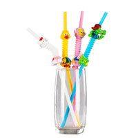 Wholesale Duck Favors - Cartoon Animals Drinking Straw Creative Art Rabbit Monkey Duck Cat Color Disposable Straw Birthday Party Favors SD973