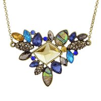 Wholesale Colorful 18k - New Fashion Colorful Rhinestone Boho Pendant Necklace for Women Antique Gold Plated Vintage Nature Stone Necklace
