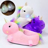 Wholesale Cute Warm Ups - LED Light Up Glow Unicorn Slippers Women Warm Cute Soft Plush Slippers Fancy Household Winter Slipper