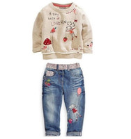 Wholesale Toddler Cotton Jeans - new Free shipping spring fashion Toddlers Kids Girls Clothing Sweater + Jeans suit Cartoon Outfits Clothes