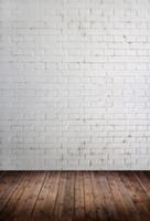 pared de ladrillo prop al por mayor-Pared de ladrillo y piso de madera Tema Vinilo Fotografía personalizada Telones Fondo de muselina Fotografía ZD-09