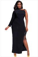 Wholesale Satin Night Clothes - XXL Sexy Black one shoulder plus size dresses, Club costumes, women clothing, cocktail dress , party uniform #XSY60890B