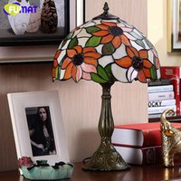 Wholesale Stained Glass Garden Lamps - FUMAT European Garden Sunflower Table Lamp Lights Retro Stained Glass Lamps For Living Room Bed Room Art LED Table Lamps