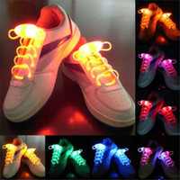 Wholesale Stick Lights Wholesale - 100pcs (50 pairs) LED Shoelaces Shoe Laces Flash Light Up Glow Stick Strap Shoelaces Disco Party Skating Sports Glow Stick