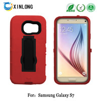 Per Samsung Galaxy S7 G930 silicon + pc 2 in 1 Supporto verticale Kickstand Custodia ibrida del cellulare per cellulare