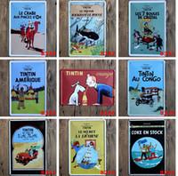 Wholesale Classic Tin Signs - hot new 2015 classic cartoon The Adventures of Tintin TINTIN Tin Sign Coffee Shop Bar Restaurant Wall Art decoration Bar Metal Paintings