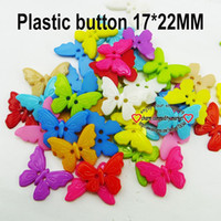 Wholesale Hole Plastic Buttons - Hot sale Wholesale Mixed Color butterfly Shape 2 Hole PLASTIC Button Fit Sewing Scrapbooking Sewing