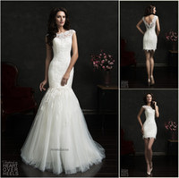 Wholesale Wedding Dress Removable Short Sleeve - Amelia Sposa 2015 Two-piece Lace Mermaid Wedding Dresses Bateau Neck Cap Sleeves With Removable Tulle Skirt V Back Short Sheath Bridal Gowns