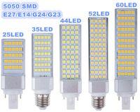 Wholesale E14 Led Bulb 14w - E27 E14 G24 G23 SMD 5050 LED corn bulb Horizontal Plug lights led lamp 180 degeree 5W 7W 9W 10W 12W 14W 15W 64 LEDs led lighting AC 85-265V