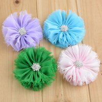 Wholesale Shabby Chic Flowers For Babies - Free Shipping Fashion Baby Kids Girl Shabby Chic Chiffon Flowers For Headbands Diamond In The Center Of Flower