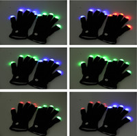 Wholesale Gloves Cool - LED Flashing Light Up Gloves Rainbow Glow Run Black UV Rave Party Dance Disco Fashion Cool LED Rave Flashing Gloves Glow