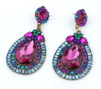 Wholesale large crystal drop earrings - Bohemian Statement Earring Fashion Colorful Water Drop Tassel Earrings Crystal Big Large Pendant Jewelry For Gift