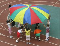 Wholesale Gymnastic Cloth Children - 2m Child Kid Sports Development Outdoor Rainbow Umbrella Parachute Toy Jump-sack Ballute Play Parachute free shipping TY1121
