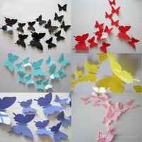 Wholesale Wall Cling Decoration - Epack Freeshipping 120pcs=10sets 3D Butterfly Wall Stickers Butterflies Docors Art   DIY Decorations Paper mixed colors