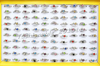 Wholesale Silver Jewlery Sets - Jewlery Rings Fashion Jewelry 50pcs lot Heart CZ Rhinestone Silver tone Colorful Ring Fashion Rings Jewellery
