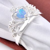 Wholesale Silver Ring Blue Gem - 6 PCS LOT Luckyshine Holiday Gift Dazzling Fire Round Blue Fire Opal Gems 925 Sterling Silver Plated Russia Canada USA Weddiing Crown Rings