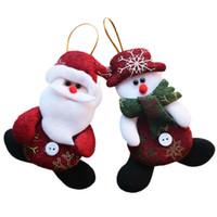 luces de copo de nieve cambiantes de color al por mayor-Año Nuevo Al Por Mayor 24 unids / lote Red Santa Colgante Árbol de Navidad Adornos Colgantes Artesanía Para Decoración Del Hogar Suministros Sd206
