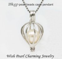 Wholesale Gold Plated Pearl Jewellery - 18KGP Heart Drop shape Pearl  Crystal  Gem stone Beads Cage Lockets, Love Wish Pendant for DIY Fashion Jewellery Charms