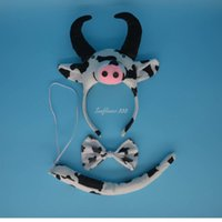 Wholesale Cow Ears Costume - Halloween Party Costume Cartoon Animal Ear Headband Tie Tail Milk Cow Headwear Hair Accessories Adult Kids Cosplay Props