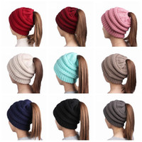 Wholesale Hair Holes - Ponytail Stretchy Knitted Beanie Cap Women Winter Warm Hole Ski Hat High Bun Hair Stretchy Beanies 11 Colors 120pcs OOA3386