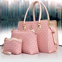 Wholesale cheap tote bags for women - Designer Women 3PCS Set Fashion Bags Ladies Handbag Sets Leather Shoulder Office Tote Bag Cheap Womens Shell Handbags Pink 4 Color For Sale