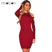 Wholesale Red Cut Out Bodycon Dress - Vintage Dress Women Bodycon Dress Cut Out Shoulder Long Sleeves Choker Turtle Neck Stretchy Sexy Party Dress Ropa Mujer q1113