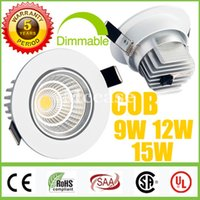 Wholesale led lamp power driver - 2015 Newest-CREE-9W 12W 15W COB LED Downlights Dimmable-Non 110V 240V Power Driver Tiltable Fixture Recessed Ceiling Down Lights Lamps CSA