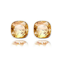 Wholesale Best Simple - Simple Square Stud Earrings Austria Crystal High Quality Earrings For Women Best Gift Jewelry Free Shipping 8019