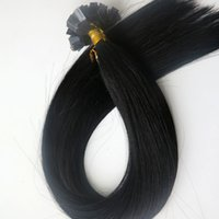 Wholesale remy human hair jet black resale online - 150g Set Strands Pre Bonded Flat Tip Hair Extensions inch Jet Black Brazilian Indian Remy Human Keratin Hair