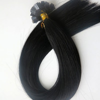 Wholesale Indian Remy Keratin Black - 150g 1Set=150Strands Pre Bonded Flat Tip Hair Extensions 18 20 22 24inch #1 Jet Black Brazilian Indian Remy Human Keratin Hair