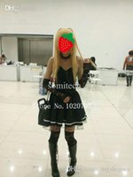 Wholesale Death Note Misa Amane Black dress with gloves stockings neckwear Cosplay Costume