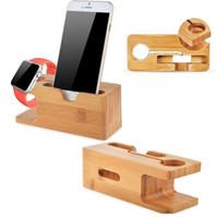 apfel wiege ladung großhandel-Bambus Holz Ladestation Docking Station Halter Telefon Docking Cradle und Watch Halterung Ladegerät Ständer für Apple Watch iPhone