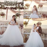 online Shopping Ball Gowns - 2018 Said Mhamad Off the Shoulder V Neck Lace Appliques Ball Gown Wedding Dresses 2016 Bride Gowns Lace Up Back Court Train BA1007