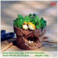Wholesale Magic Bird - Ed Original Quality Design Magic Story Garden Ornament Lover Birds Flowerpot Bonsai Outdoor Decoration