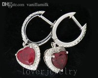 Wholesale Ruby Drop Vintage Earrings - Wholesale-Vintage Heart 4.35Ct Solid 14Kt White Gold Diamond Blood Red Ruby Engagement Earrings,Drop Earrings For Sale