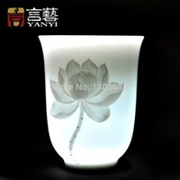 Wholesale Celadon Chinese Tea Set - Wholesale-Chinese Kung fu tea set cup celadon shadow carving cup ceramic tea cup lotus bloom design 200 ml high quality free shipping