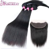 Wholesale braid in' bundles online - Fairgreat Braid In human hair Bundles Straight Body Wave Human Hair bundles with lace frontal Brazilian Virgin Hair Extensions