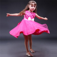 Wholesale Tutu Dress Tops For Babies - Pettigirl Top Grade Baby Girls Party Dress Hot Pink Polyester Dresses With Flowers And Bows Kids Lace Dresses For Girls Kids Wear GD40814-24