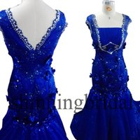 Real Photo Prom Robes Royal Blue Cap Sleeve Carré Fabriqué à la main Fleurs 3D Mermaid Bling Bling Sequins Court Train Robes de soirée Arabe