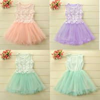 Wholesale Nets Dress New Style - Summer New Arrivals cute girls lace dress crochet net sleeveless gauze Dress 2015 girl vest Dress 5pcs lot C001