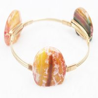 Wholesale Multi Color Agate - Designer Inspired Multi Color Beads Bracelet Simple Gold Wire Wrapped Bangle Fashion Good workmanship agate Jewelry Bracelets For Women